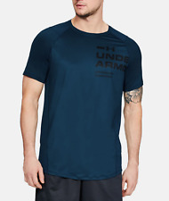 Under Armour Men's Techno Teal Ua Mk-1 Logo Graphic Crew-Neck Short Sleeve Shirt