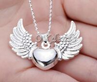 Unique925 Sterling Silver Plated Heart Angel Wing Charm Pendant Necklace Jewelry