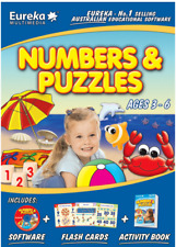 Eureka Multimedia Numbers & Puzzles Educational Software+Flashcards+Book AGE 3-6