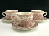 Set of 3 Churchill THE BROOK PINK Flat Cups & Saucers Tableware ENGLAND