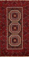 3'x6' Tribal Geometric Oriental Balouch Hand-Knotted Area Rug Traditional Carpet