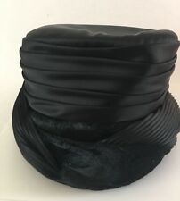 Pillbox Black Hat Satin Velour Cocktail Vintage Lined Braid Trimmed