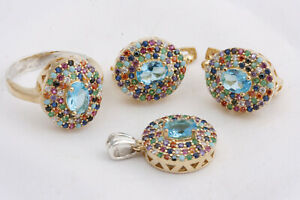 Turkish Handmade Jevelry 925 Sterling Silver Turquoise Topaz Sets Ring Size 8