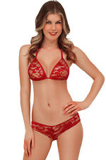 Crossdresser Sissy Red Lace halter Style Bra And  Bikini