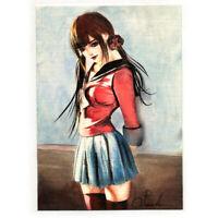 original painting drawing watercolor art picture signed japan woman portrait