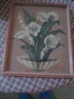 Vintage de Jonge Mid Century Shabby Chic Floral Framed Print Beautiful Pink