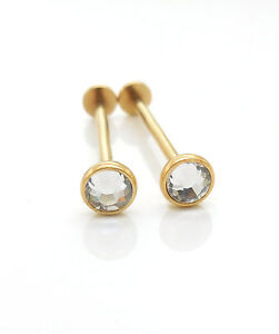 16G 14-19mm 5mm Clear Crystal Gold Tone Dimple Piercing Rings Cheek Jewelry NEW