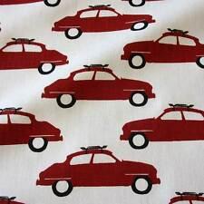Stoff Meterware Baumwolle Schweden rot weiß Auto Oldtimer skandinavisch Neu