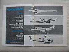 1/1974 PUB AEROSPATIALE CONCORDE AIRBUS A300B CORVETTE GAZELLE FRENCH AD