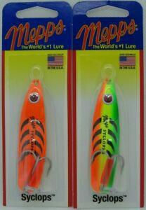 2 - Mepps Syclops Spoons - 5/8 oz. - Hot Firetiger & Hot Orange