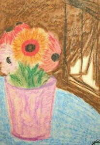 1981 Pastel painting fauvist still life with flowers signed