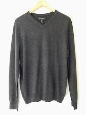 NWT Harrison Davis 100% Cashmere Men's Gray V Neck Sweater M $245