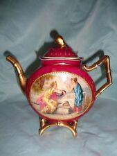 Antique hand painted Royal Vienna style porcelain tea pot {artist signed}