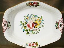 Antique English Relief Molded Basketweave Hand Painted Dessert Bowl Dish