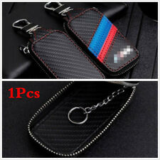 Car Leather Key Holder Remote Cover Black PU Carbon Fiber Universal for Car SUV