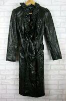 Harry who longline coat jacket size 8 black 100% genuine leather