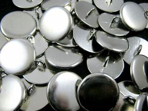 QUALITY PLAIN SILVER METAL POLISHED BLAZER BUTTONS with SHANK (B568)