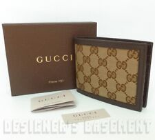 "GUCCI Mens 5""-Long beige Original GG canvas Chocolate Leather Wallet NIB Authent"