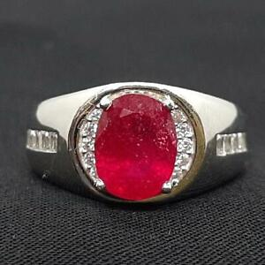2.50ctw Mozambique Ruby & Diamond Cut White Sapphire 925 Silver Mens Pinky Ring