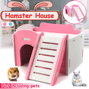 Hamster House Wooden Pet Bed Nest Climbing Ladder Cage Stairs Playing Toy