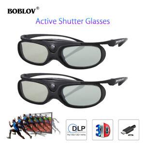 2x 3D-Active-Shutter-Brille DLP-Link USB aufladbar Schwarz für BenQ Acer Sony!