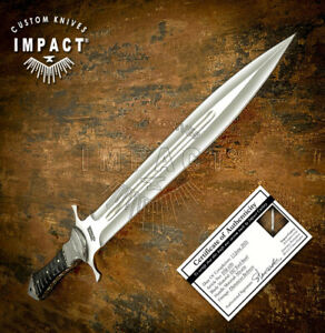 IMPACT CUTLERY RARE CUSTOM D2 FULL TANG  DAGGER KNIFE DAMASCUS BOLSTERS