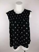 Old Navy Women 2XL Black Trapeze Floral Ruffle Stretch Back Button Blouse Top