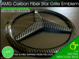 AMG Front Star Emblem Cover Sport Carbon Fiber Look Grill Badge Mercedes C E GL
