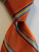 HICKEY FREEMAN Men's Silk Necktie USA Woven Designer STRIPED Orange/Multi EUC