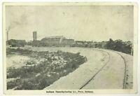 Peru Indiana IN Manufacturing Co Black & White Railroad View Vintage Postcard