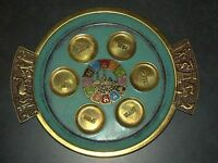Judaica Pesach Passover Vintage Bronze Seder Plate Jerusalem 1960's Wall Hang