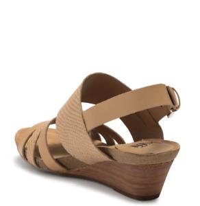 Sofft Women's Velora Snakeskin Embossed Wedge Leather Sandal - Light Tan - 7.5M