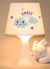 """Kinderlampe Schlummerlampe """"Regenbogenwolke mit Namen"""" personalisierbar"""
