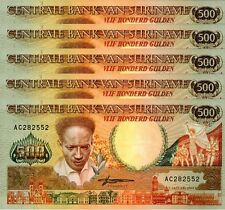 SURINAM SURINAME 500 GULDEN 1988 UNC 5 PCS CONSECUTIVE LOT P.135