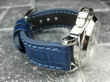 New BIG CROCO 20mm Blue LEATHER STRAP Blue Stitch watch Band NAVITIMER 20