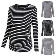 Womens Pregnant Maternity Clothes Long Sleeve Striped Casual Top T-Shirt Blouse