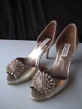 """Badgley Mischka Gold Embellished Peep-Toe Leather Pump  3.5"""" Heel Sz 6(SOE-29"""