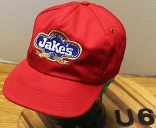 VINTAGE JAKE'S DIET COLA SNAPBACK RED ADVERTISING HAT USA MADE VGC    U6
