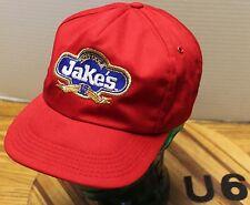VINTAGE JAKE'S DIET COLA SNAPBACK RED ADVERTISING HAT USA MADE VGC