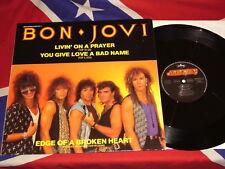 "BON JOVI - livin' on a prayer  12"" SINGLE 1986   TOUR DATES"