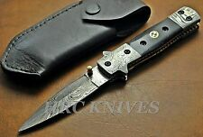 "DE12 ~ 8"" HRC DAMASCUS DOUBLE EDGED TACTICAL COMBAT KNIFE W/ MOSAIC PIN -USA"