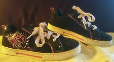 """OP """"Mango"""" womens black skate flats shoes sneakers lace up size 6"""