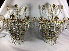 2 Vintage Schonbek Gilt Bronze Brass Crystal lamp Sconces wall chandeliers 15 In