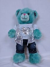 Build A Bear BFF BEST FRIENDS FOREVER blue/green bear with outfit! Very soft!
