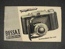 Voigtlander Bessa I 1951 Camera Instruction Book / Manual / User Guide