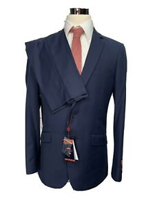 New Carlo Lusso Mens French Blue Euro Slim Fit 2pc Suit 40L