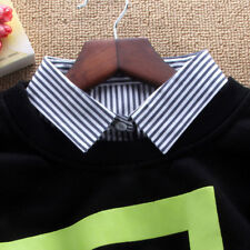 Unisex Detachable Dickey Blouse Shirt Cotton Fake False Choker Collar #EAF509