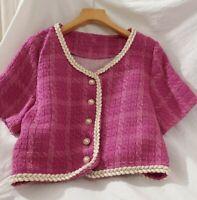 Hot Fuchsia Pink Woven Tweed Cream Short Sleeve Pearl Blazer Chic Jacket Top 10