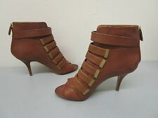 GIVENCHY MADE IN ITALY Brown Multi Strap Back Zipper Open Toe Bootie Size 38