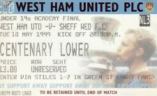 Ticket - West Ham United U19 v Sheffield Wednesday U19 18.05.99 Academy Final
